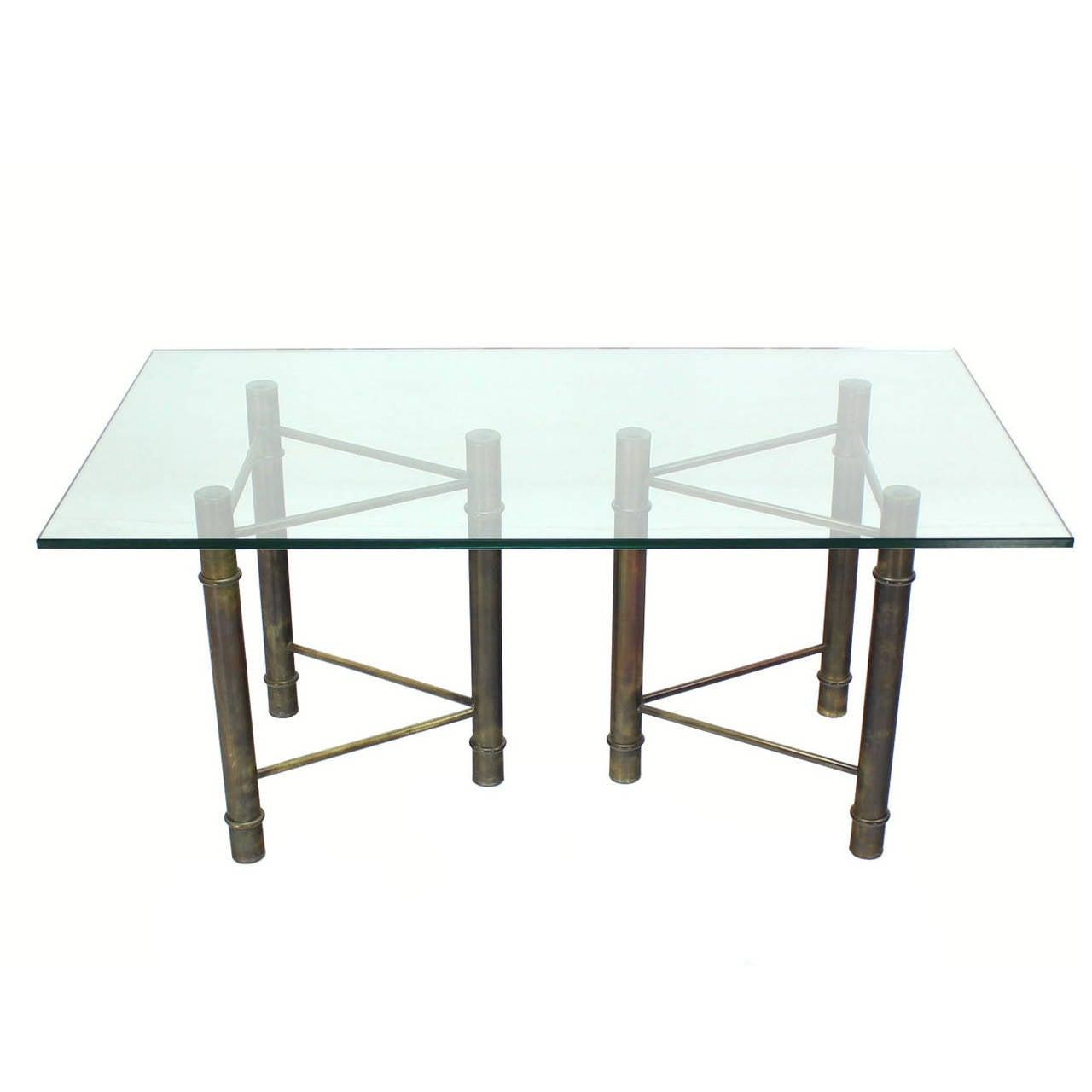 Mastercraft Solid Brass Faux Bamboo Base Glass Top Rectangle Dining Table