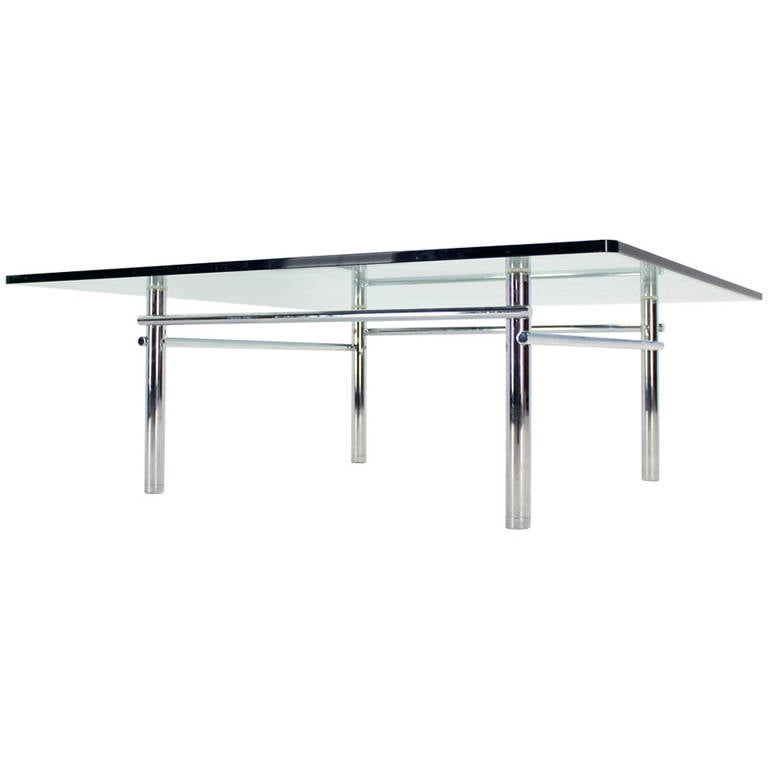 Solid Stainless Steel Coffee Table: Solid Chrome Base With Heavy Steel Bars And Square Glass