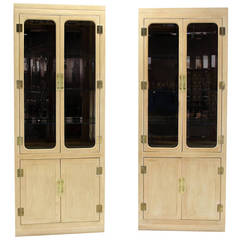 Pair of Mid-Century Modern Tall Display Cabinets for John Stuart