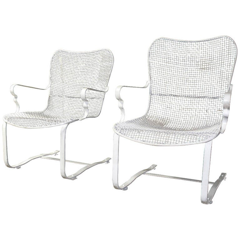 Pair Of Mid Century Modern Rocking Wire Mesh Chairs By Russell Woodard For  Sale