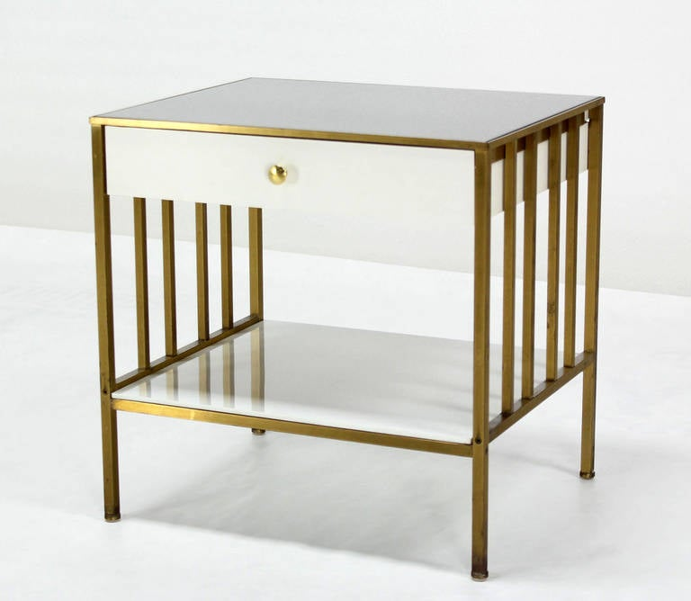 solid brass mid century modern end side table on e drawer stand 2