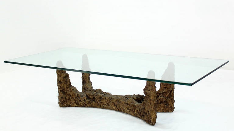 Heavy cast metal brutalist style base and glass top coffee for Heavy glass coffee tables