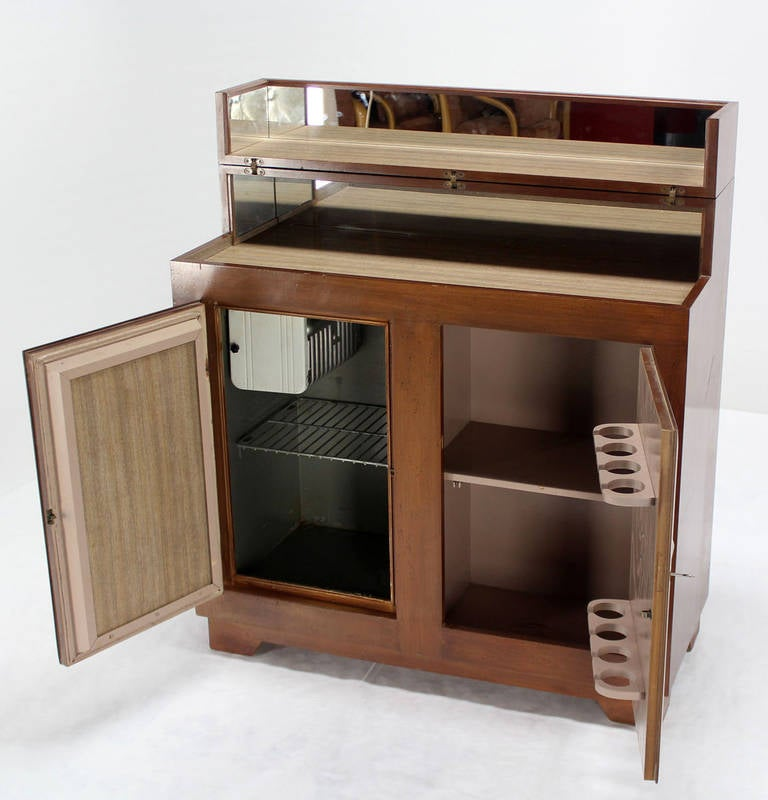 Art deco mid century modern refrigerated bar liquor for Best mid priced kitchen cabinets