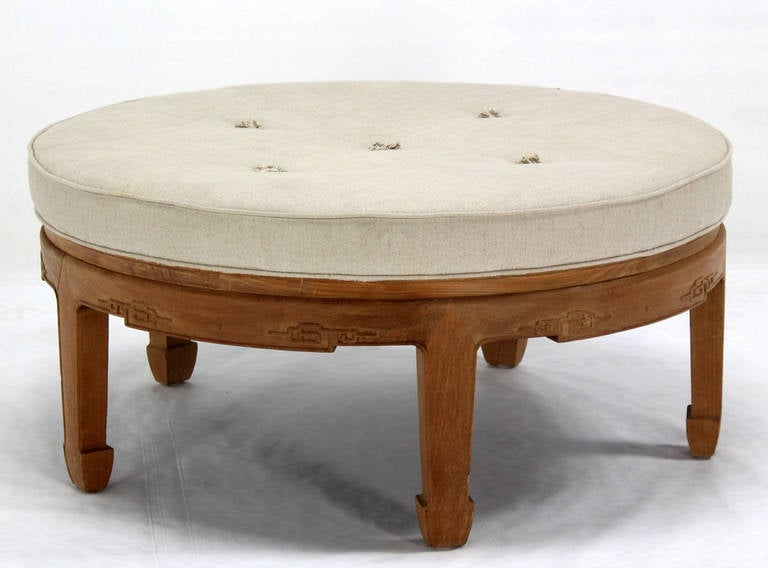 Oversized mid century oriental modern round ottoman with for Oriental furniture nj