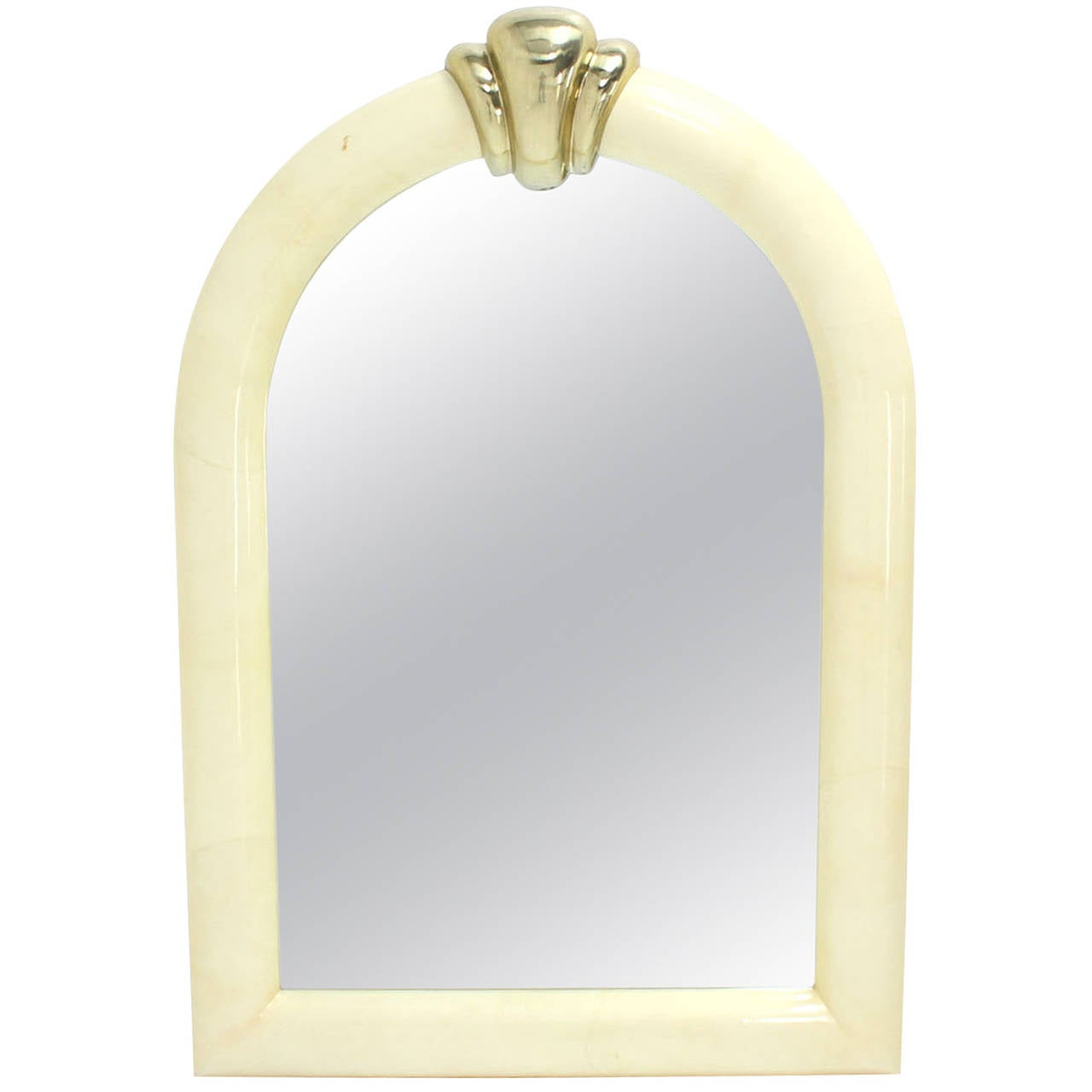 Large arch dome shape goatskin wall mirror for sale at 1stdibs for Large wall mirrors for sale