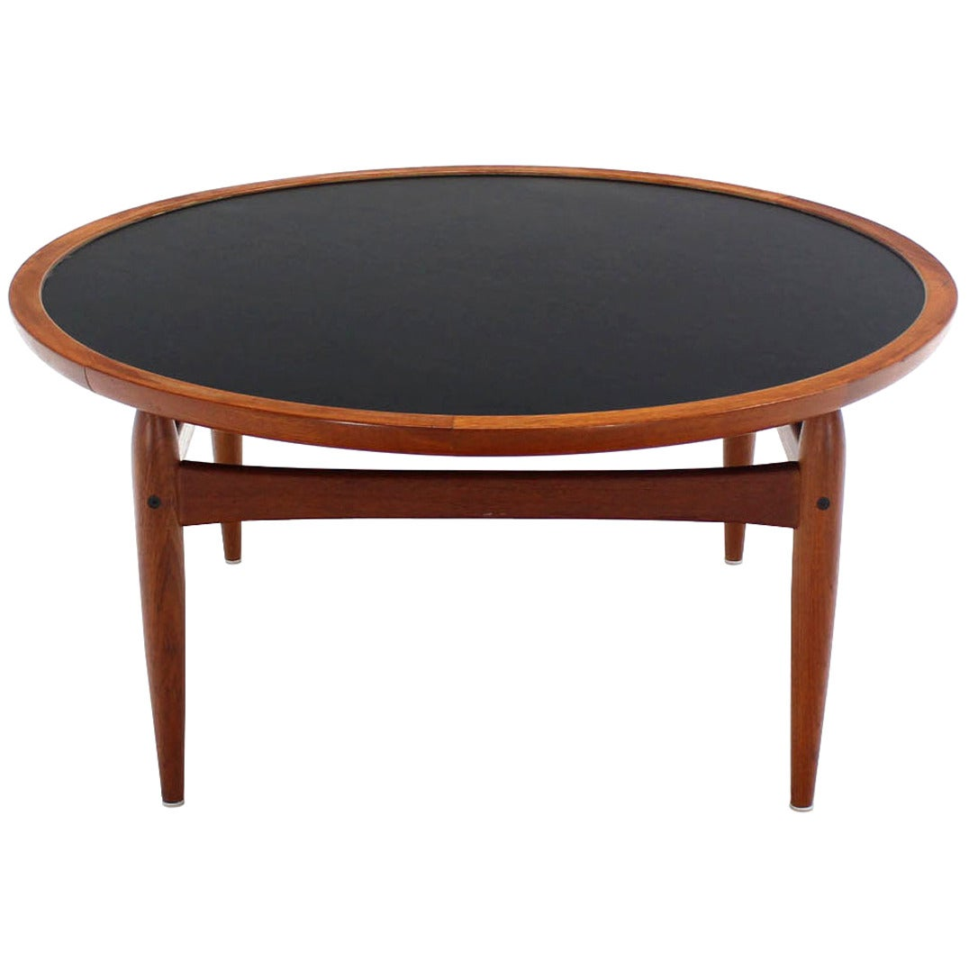 Reversible flip top danish modern round teak coffee table for Modern coffee table