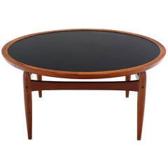 Reversible Flip-Top Danish Modern Round Teak Coffee Table