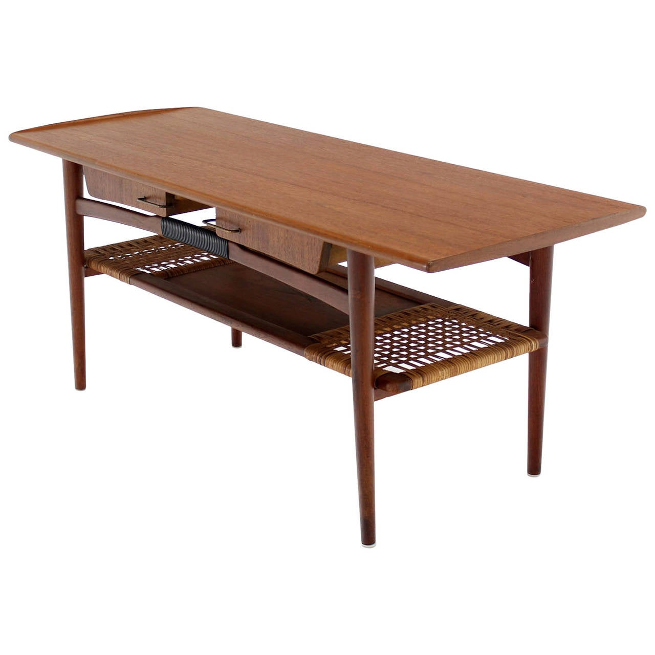 Danish modern teak coffee table cane shelf rolled edges 4 storage drawers for sale at 1stdibs Coffee table with shelf