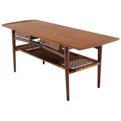 Danish Modern Teak Coffee Table Cane Shelf Rolled Edges 4 Storage Drawers