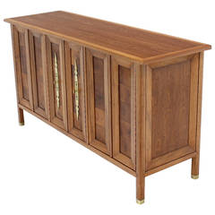 Mid-Century Modern Dresser Credenza with Folding Doors Brass Hardware