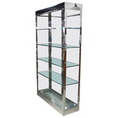 Large and Tall Chrome and Glass Showcase