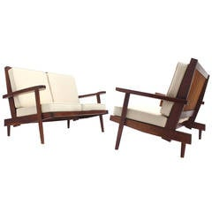 Pair of George Nakashima Style Walnut Settees with Arms New Upholstery
