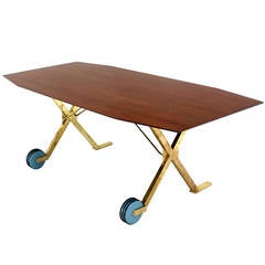 Brass X Base on Wheels Dining Serving Boat Shape Table