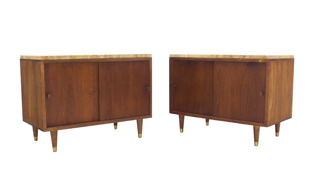 Mid-Century Modern Pair of Marble or Travertine Top Walnut Cabinets with Sliding Doors For Sale
