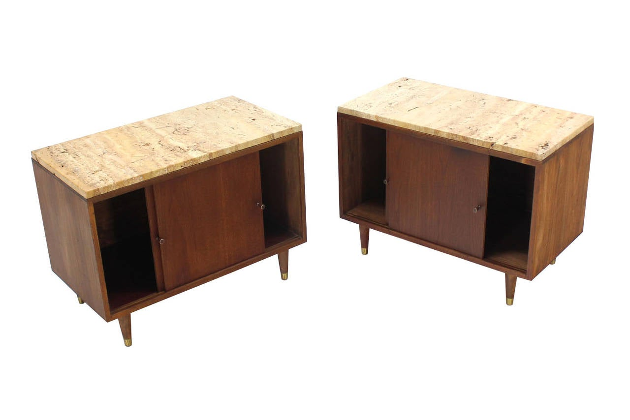 American Pair of Marble or Travertine Top Walnut Cabinets with Sliding Doors For Sale