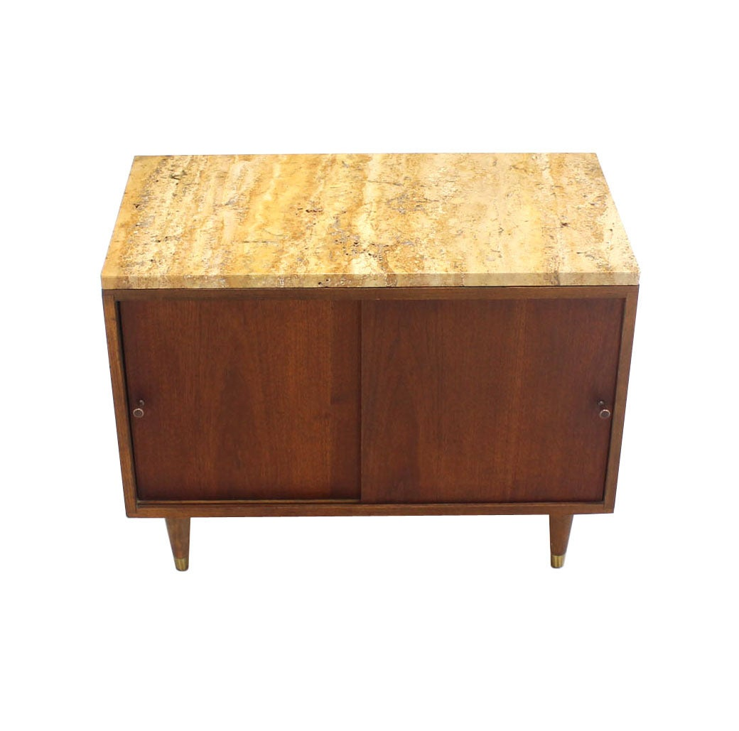 Pair of Marble or Travertine Top Walnut Cabinets with Sliding Doors For Sale 2