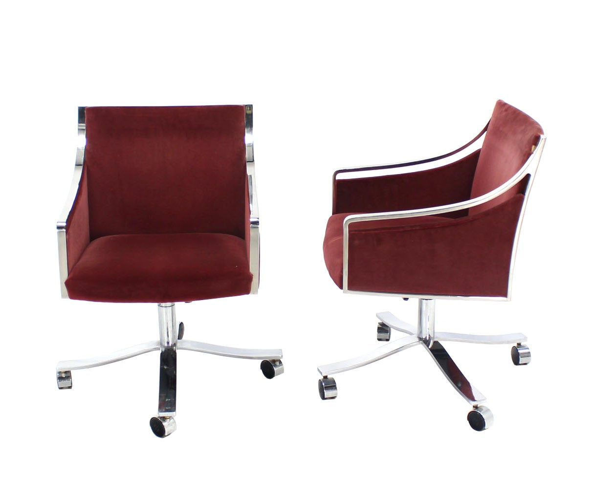 Set Of Four Stow Davis Borsani Office Chairs On Heavy Stainless Steel X Bases For Sale At 1stdibs