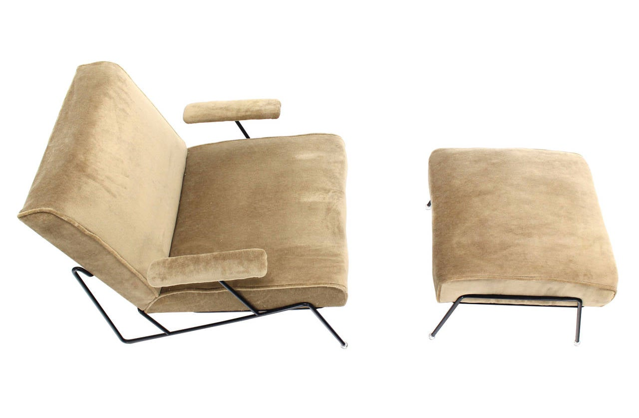 Wire Frame Lounge Chair And Ottoman In Style Of Jean