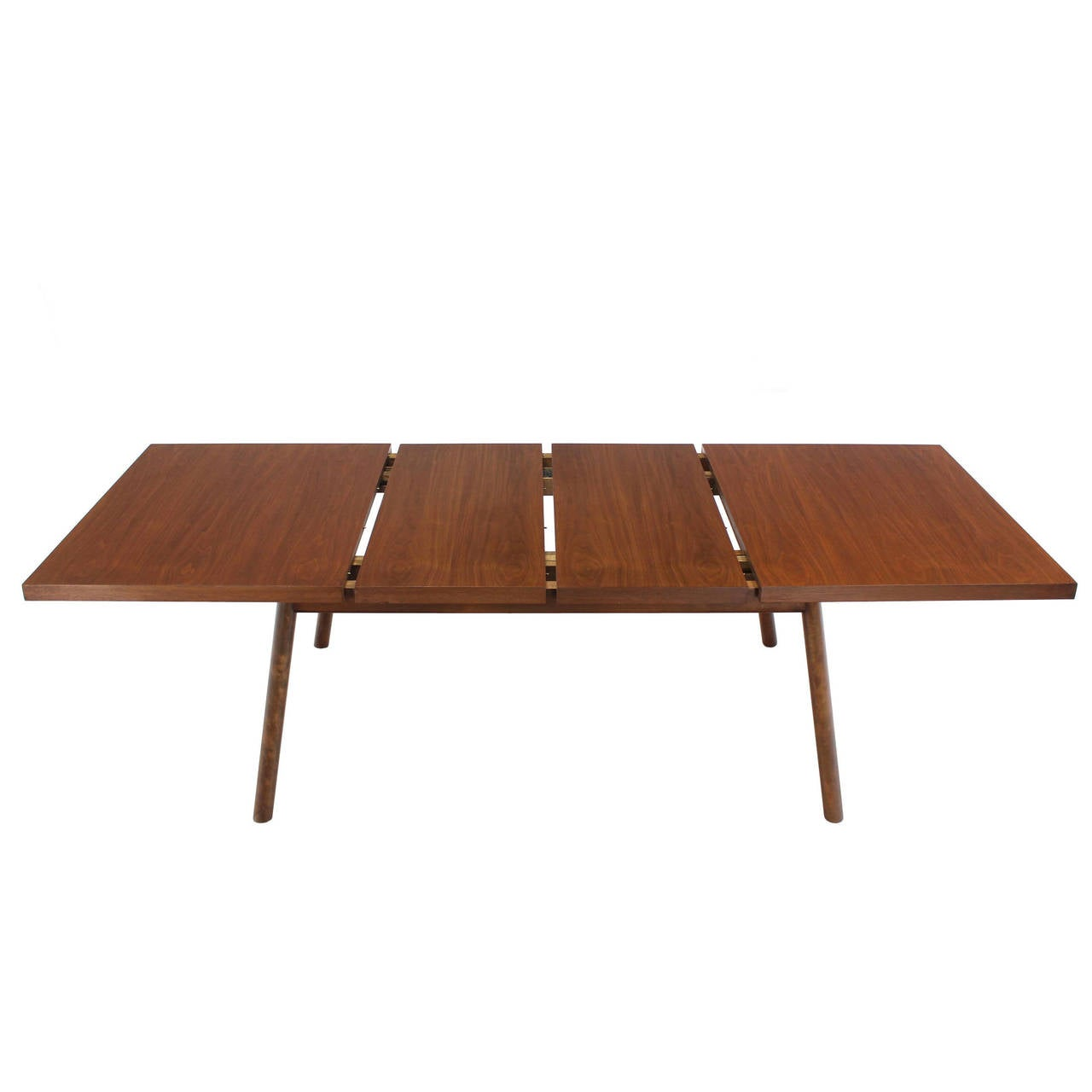 Robsjohn gibbings walnut extention dining table with two for Dining room table 2 leaves