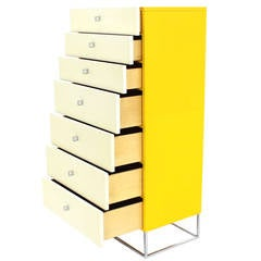 Seven Drawer Tall Yellow and White Lacquer Floating Lingerie Chest