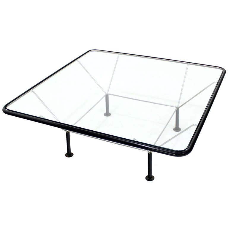 Modern Square Coffee Table With Glass Top: Mid Century Modern Square Coffee Table W/ Glass Top At 1stdibs