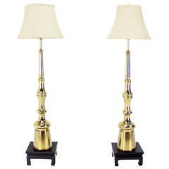 Pair of Large Mid-Century Modern Metal Finial-Shape Floor Lamps on Stands