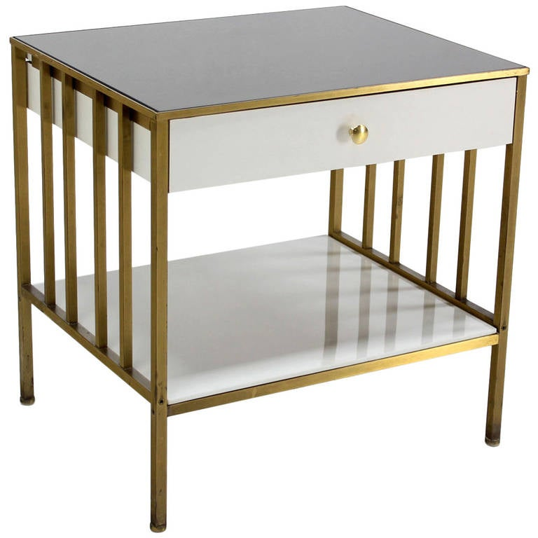 Solid Brass Mid Century Modern End Side Table On E Drawer Stand. 1
