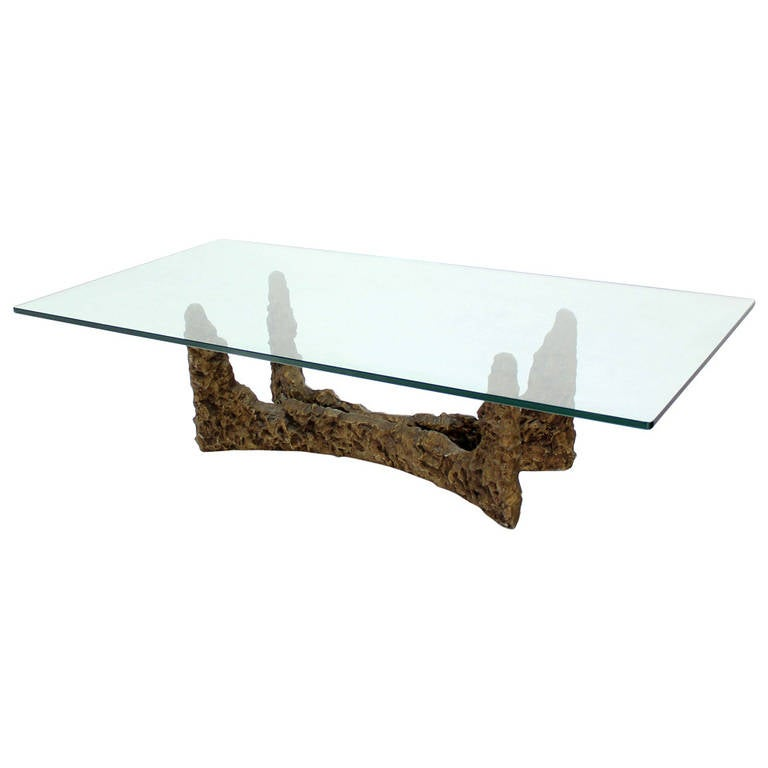 Heavy Cast Metal Brutalist Style Base And Glass Top Coffee Table For Sale At 1stdibs
