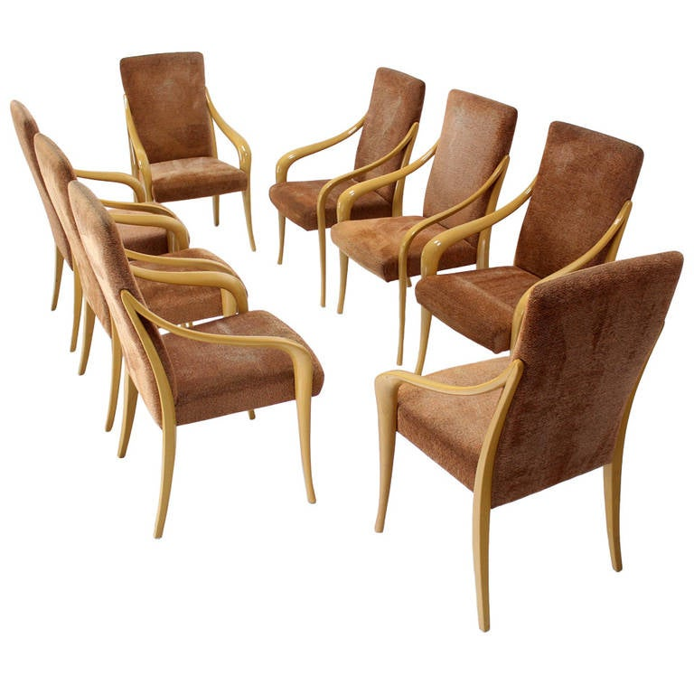 Set of eight modern lacquered italian dining chairs at 1stdibs for Italian dining chairs modern