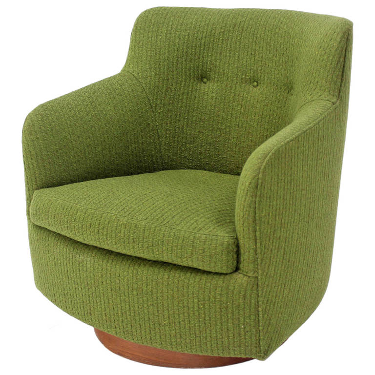 Gentil Milo Baughman For Thayer Coggin Thick Wool Upholstery Barrel Back Lounge  Chair For Sale