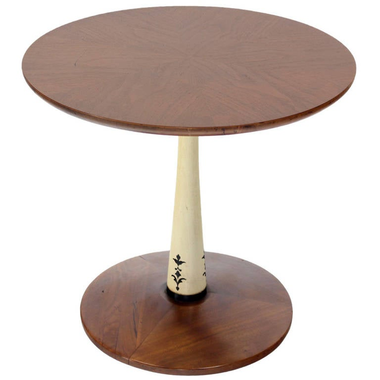 Mid-Century Modern Solid Walnut  Weighted Base Round Side Table
