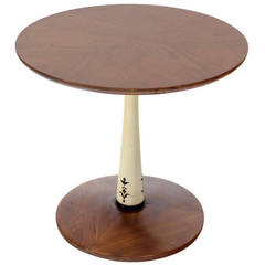 Mid-Century Modern Solid Walnut, Weighted Base Round Side Table