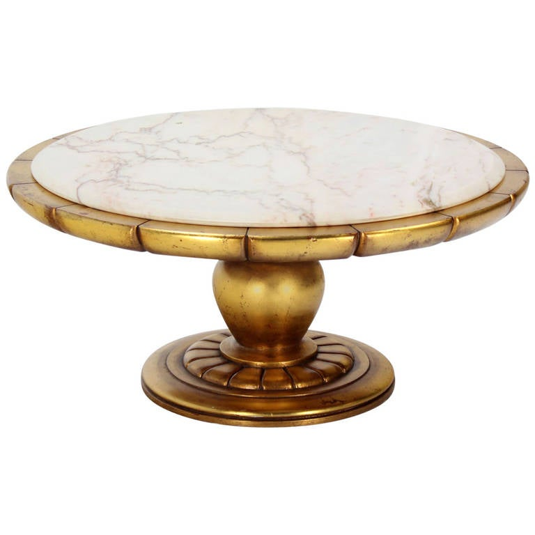 Hollywood Regency Gold Leaf Round Onyx-Top Coffee Table