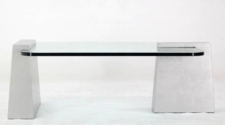 Mid-Century Modern Round Edge Rectangular Geometric Coffee Table 6
