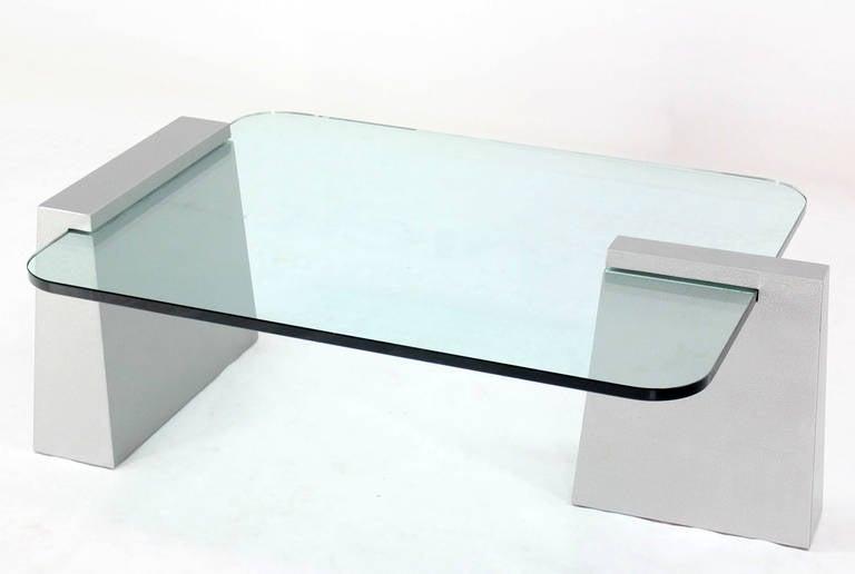 Mid-Century Modern Round Edge Rectangular Geometric Coffee Table 8