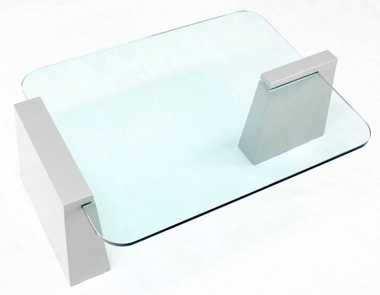 Mid-Century Modern Round Edge Rectangular Geometric Coffee Table 9