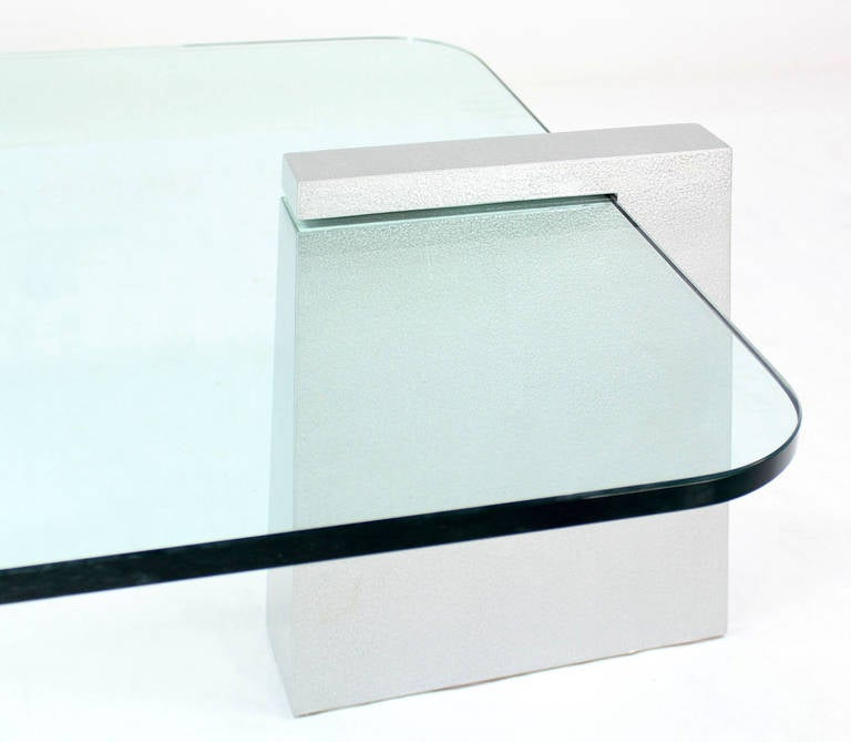 Mid Century Modern Round Edge Rectangular Geometric Coffee Table At 1stdibs