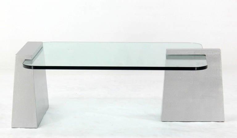 Mid-Century Modern Round Edge Rectangular Geometric Coffee Table 2