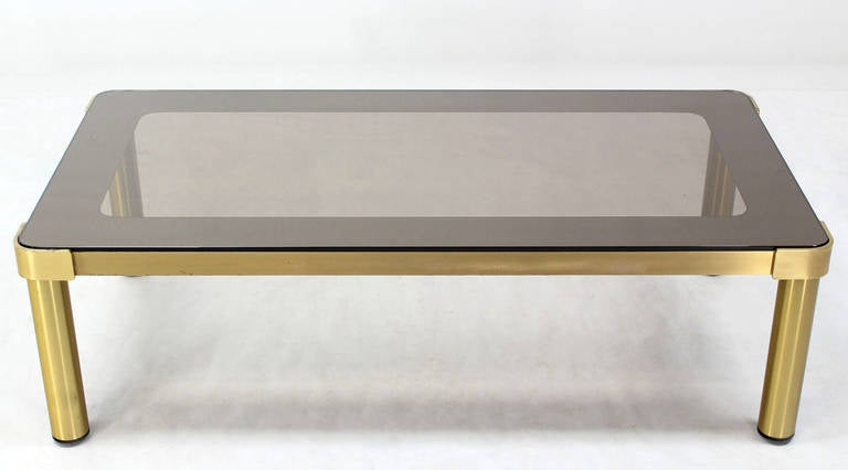 Mid Century Modern Brass and Two-Tone Glass Rectangular Coffee Table  For Sale 1