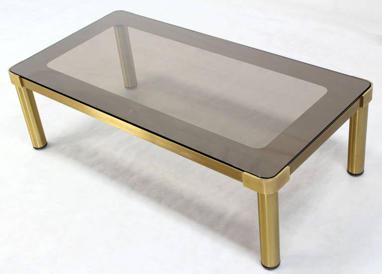Mid Century Modern Brass and Two-Tone Glass Rectangular Coffee Table  For Sale 2