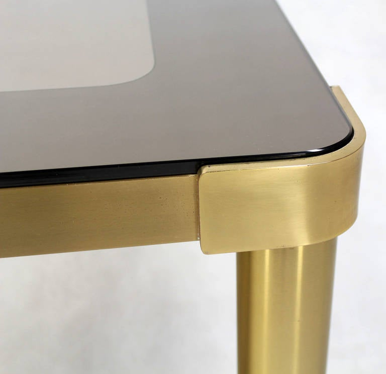 American Mid Century Modern Brass and Two-Tone Glass Rectangular Coffee Table  For Sale