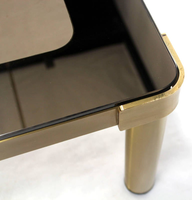 Polished Mid Century Modern Brass and Two-Tone Glass Rectangular Coffee Table  For Sale