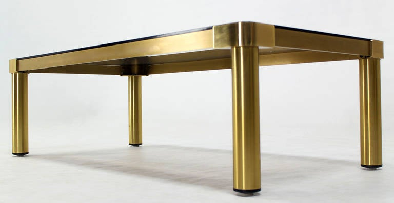 Late 20th Century Mid Century Modern Brass and Two-Tone Glass Rectangular Coffee Table  For Sale