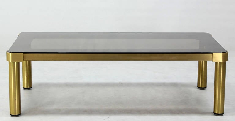 Mid Century Modern Brass and Two-Tone Glass Rectangular Coffee Table  For Sale 3