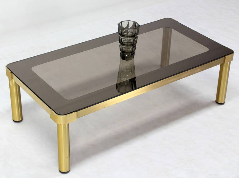 Mid-Century Modern Mid Century Modern Brass and Two-Tone Glass Rectangular Coffee Table  For Sale