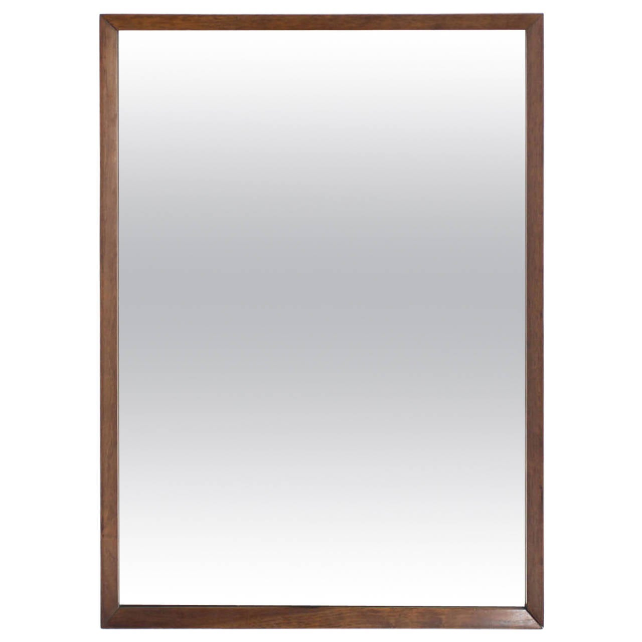 Large sleek rectangle walnut frame mirror at 1stdibs for Tall framed mirror