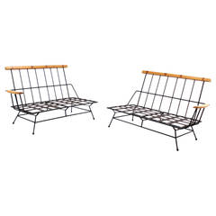 Mid-Century Modern Sectional Two Part Sofa Frames