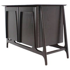 Two-Door Sculptural Exposed Leg Ebonized Server Three-Drawer Bachelor Chest