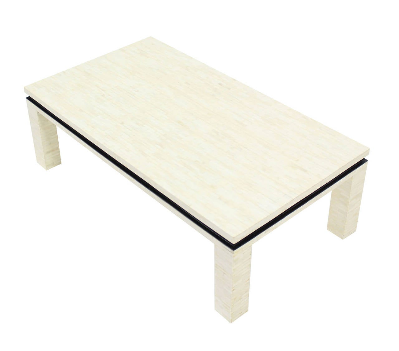bone tile rectangle coffee table at 1stdibs. Black Bedroom Furniture Sets. Home Design Ideas