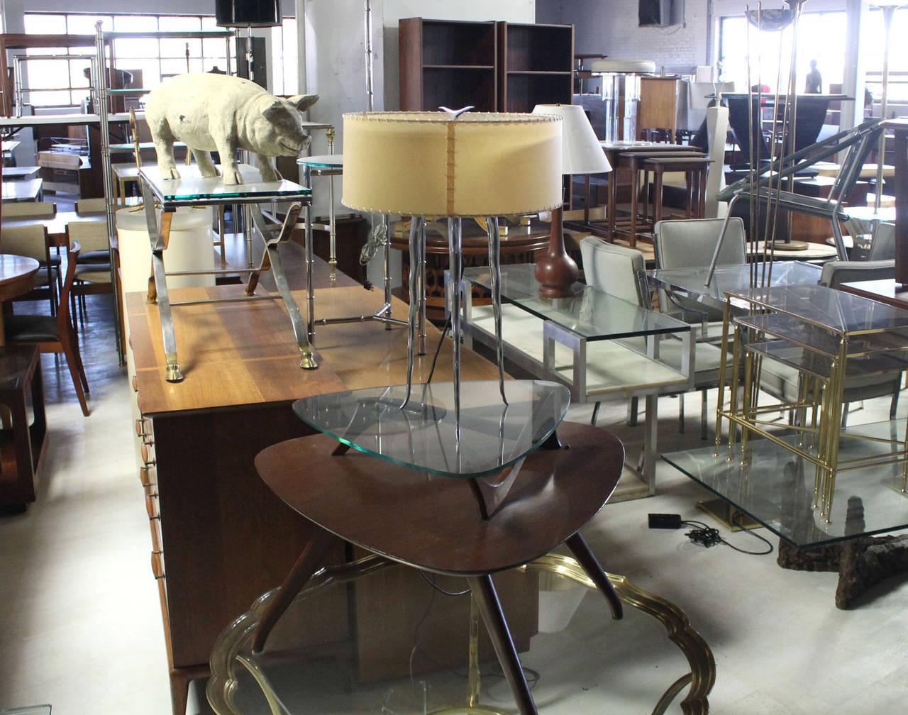 Cast Metal Horn Shape Tri Leg Table Lemp For Sale At 1stdibs